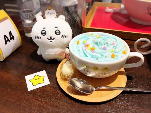 ちいかわカフェ@名古屋パルコのふわふわ雲のラテキャラクター砂糖付き